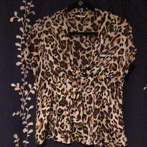 Leopard print, silky blouse, size medium.